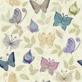 Reticolo floreale senza giunte con le farfalle e il flowe Fotografia Stock
