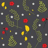 Reticolo floreale senza giunte di vettore Modello botanico della molla colourful decorativa d'avanguardia Metta delle piante, del illustrazione di stock