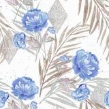 Reticolo floreale senza giunte Fiori blu Fotografia Stock Libera da Diritti