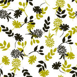 Reticolo floreale senza giunte Fiori neri e gialli isolati su wh Fotografia Stock