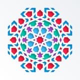 Reticolo geometrico islamico Mosaico musulmano di vettore 3D, motivo persiano Elemento della decorazione della moschea Mandala va illustrazione vettoriale
