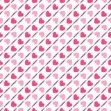Reticolo geometrico senza cuciture con i cuori Vettore Fotografia Stock Libera da Diritti