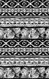 Reticolo geometrico senza giunte Fondo floreale tribale degli uccelli tropicali aztechi etnici illustrazione di stock