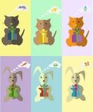 Reticolo Kitty e coniglietto che sognano del regalo Immagini Stock
