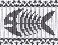 Reticolo lavorato a maglia con lo scheletro dei pesci Fotografia Stock Libera da Diritti