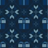 Reticolo lavorato a maglia natale Modello senza cuciture geometrico di inverno de illustrazione vettoriale