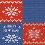 Reticolo lavorato a maglia senza giunte Stampa del nuovo anno snowflake Iscrizioni del ricamo Nuovo anno felice Rappezzatura tric illustrazione di stock