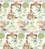 Reticolo orientale 1 dell'uccello e floreale Immagine Stock Libera da Diritti
