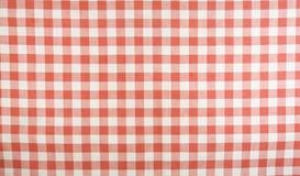 Reticolo rosso e bianco della tovaglia del percalle Fotografie Stock Libere da Diritti