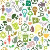 Reticolo senza cuciture colorato dei simboli ecologici Fotografia Stock