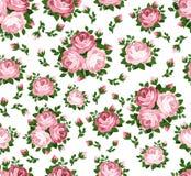 Reticolo senza cuciture con le rose rosa. Immagini Stock
