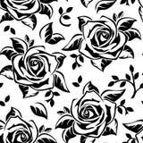 Reticolo senza cuciture con le siluette nere delle rose. Immagine Stock