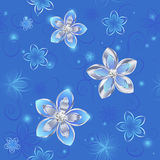 Reticolo senza cuciture dei fiori d'argento Fotografia Stock
