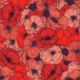 Reticolo senza cuciture dei papaveri rossi Fiori di estate nello stile lineare dell'incisione Modello di ripetizione floreale di  Fotografia Stock