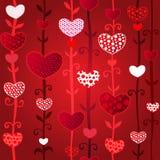 Reticolo senza cuciture del giorno di Valentin rosso di amore Immagini Stock