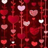Reticolo senza cuciture del giorno di Valentin scuro rosso di amore Fotografia Stock Libera da Diritti