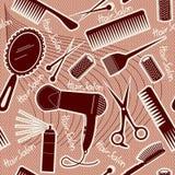 Reticolo senza cuciture della strumentazione di lavoro di parrucchiere. BAC di vettore Fotografia Stock