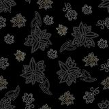 Reticolo senza cuciture floreale in bianco e nero dell'annata Immagini Stock Libere da Diritti