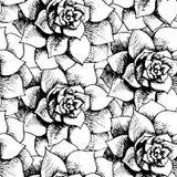 Reticolo senza cuciture floreale in bianco e nero dell'annata Fotografie Stock