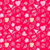 Reticolo senza cuciture floreale di Doodle di amore di giorno di biglietti di S. Valentino Fotografie Stock