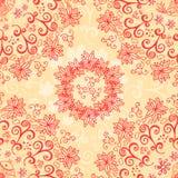 Reticolo senza cuciture floreale rosso e crema Fotografia Stock