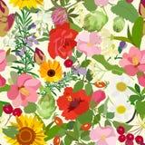 Reticolo senza giunte astratto con i fiori Illustrazione di vettore Fotografie Stock