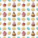 Reticolo senza giunte Colori e forme differenti dei dolci su un isolamento bianco del fondo Fotografia Stock Libera da Diritti