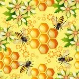 Reticolo senza giunte con gli api Immagini Stock