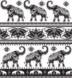 Reticolo senza giunte con gli elefanti Fotografia Stock