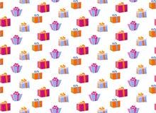 Reticolo senza giunte con i contenitori di regalo Contenitore di regalo del modello per la stampa del tessuto, avvolgente insieme illustrazione di stock