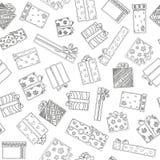 Reticolo senza giunte con i contenitori di regalo Disegno della mano messo con i regali Regali per le feste differenti Sul ` s EV Fotografia Stock Libera da Diritti