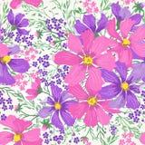 Reticolo senza giunte con i fiori Immagine Stock Libera da Diritti