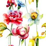 Reticolo senza giunte con i fiori della sorgente Fotografie Stock
