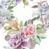 Reticolo senza giunte con i fiori della sorgente Rosa Peonia lilia Fiore Giacinto watercolor illustrazione vettoriale