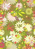 Reticolo senza giunte con i fiori e gli uccelli teneri Immagini Stock