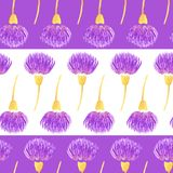 Reticolo senza giunte con i fiori Fiori viola del cardo selvatico dell'acquerello Illustrazione di vettore Fotografia Stock