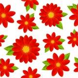 Reticolo senza giunte con i fiori rossi Immagini Stock