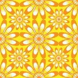 Reticolo senza giunte con i fiori Struttura d'annata gialla Fotografia Stock