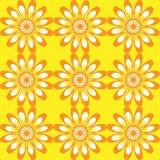 Reticolo senza giunte con i fiori Struttura d'annata gialla Immagine Stock Libera da Diritti