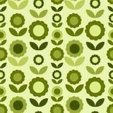 Reticolo senza giunte con i fiori verdi Fotografia Stock Libera da Diritti