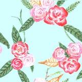 Reticolo senza giunte con i fiori watercolor royalty illustrazione gratis
