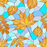 Reticolo senza giunte con i fogli di autunno Fotografia Stock