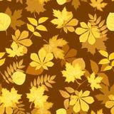 Reticolo senza giunte con i fogli di autunno gialli. Vettore Fotografie Stock