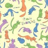 Reticolo senza giunte con i gatti divertenti royalty illustrazione gratis