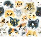 Reticolo senza giunte con i gatti Illustrazione disegnata a mano dell'acquerello illustrazione di stock