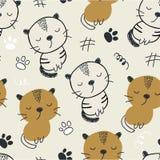 Reticolo senza giunte con i gatti svegli illustrazione di vettore per il tessuto, tessuto illustrazione di stock