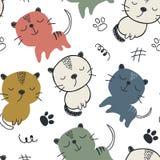 Reticolo senza giunte con i gatti svegli illustrazione di vettore per il tessuto, tessuto fotografie stock
