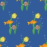 Reticolo senza giunte con i pesci Illustrazione di vettore Fotografie Stock