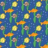Reticolo senza giunte con i pesci Illustrazione di vettore Fotografia Stock Libera da Diritti