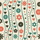 Reticolo senza giunte con i retro fiori funky di doodle royalty illustrazione gratis